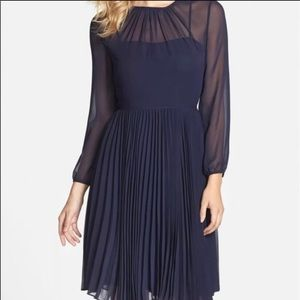 Eliza J Navy Pleated Chiffon Fit and Flare Dress
